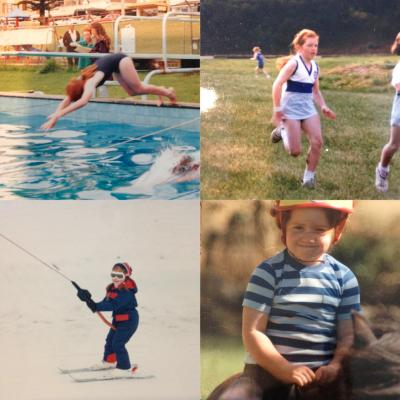 Right now I'm not swimming, running, skiing or riding, but here I am as a kid doing all four...